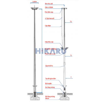 Trụ (Cột) đèn giàn nâng hạ 14m-30m