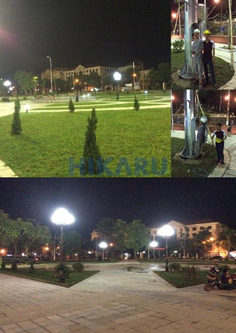 Sân Quảng trường Tuyên Quang lắp cột đèn giàn nâng hạ
