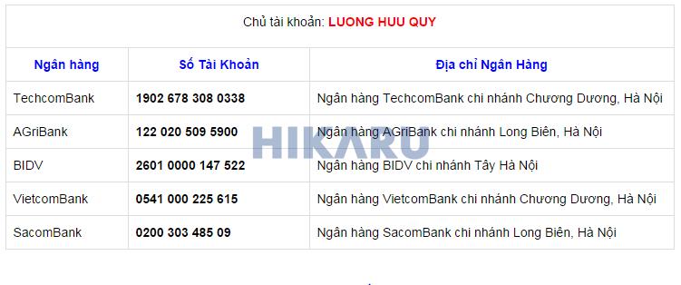 Tài khoản ngân hàng HIKARU
